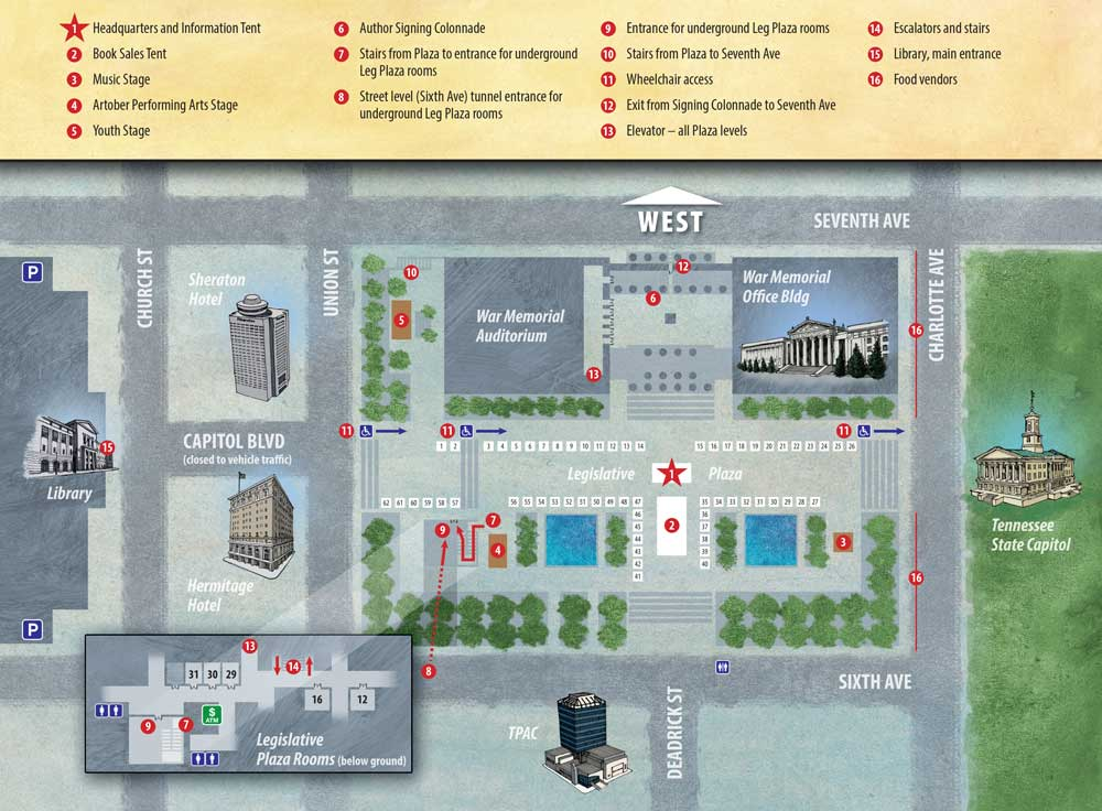 Southern Festival of Books, Event Map
